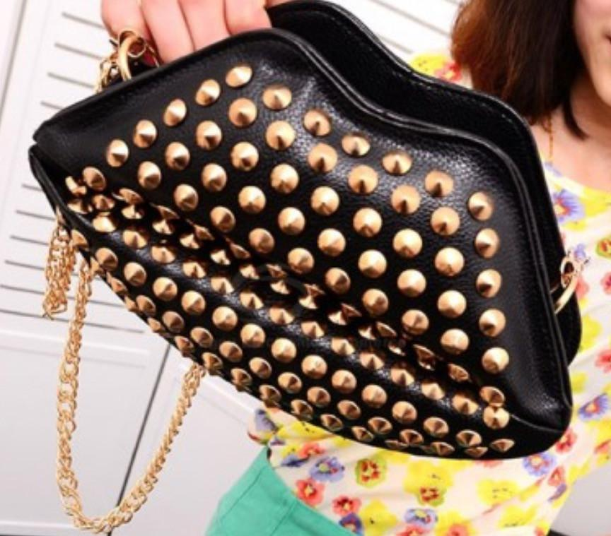Black Studded Lips Purse