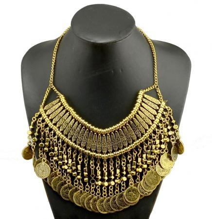 Boho Style Vintage Coin Statement Necklace