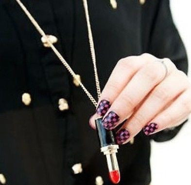 Red and Black Lipstick Necklace