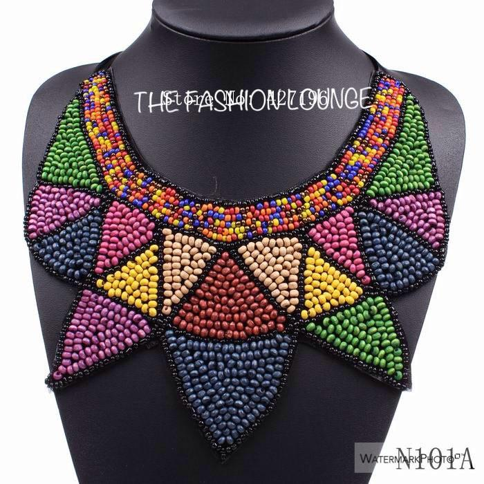 Beaded Tribal Statement Necklace