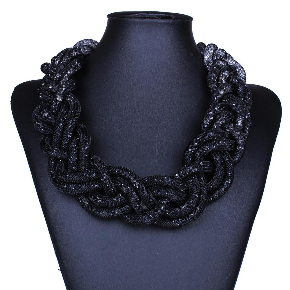 Black and Grey Braided Statement Necklace