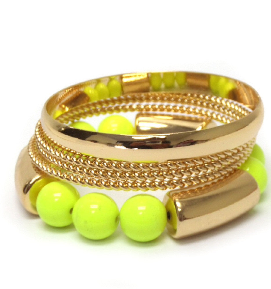 Neon Green and Gold Tone Bangle Set