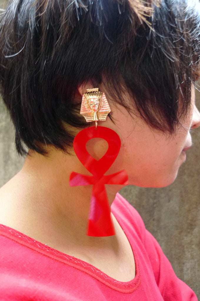 Red Large Ankh Earrings