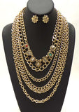 Gold Metal Multichain Necklace