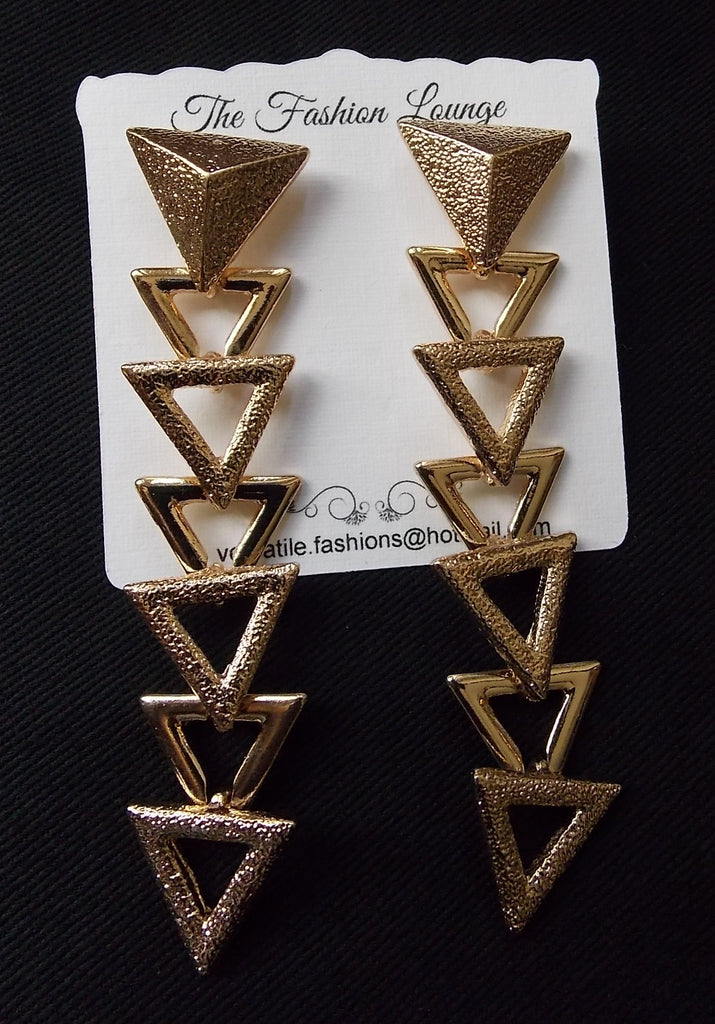 Long Drop Triangle Earrings