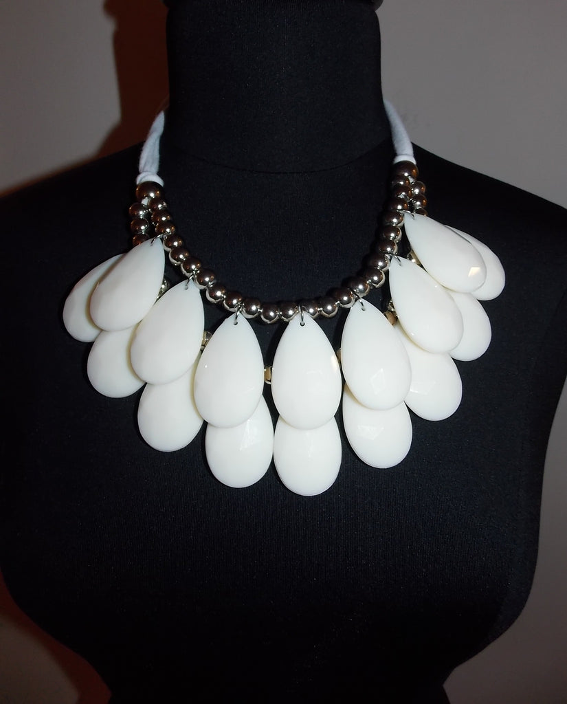 White Fabric Tie Back Necklace