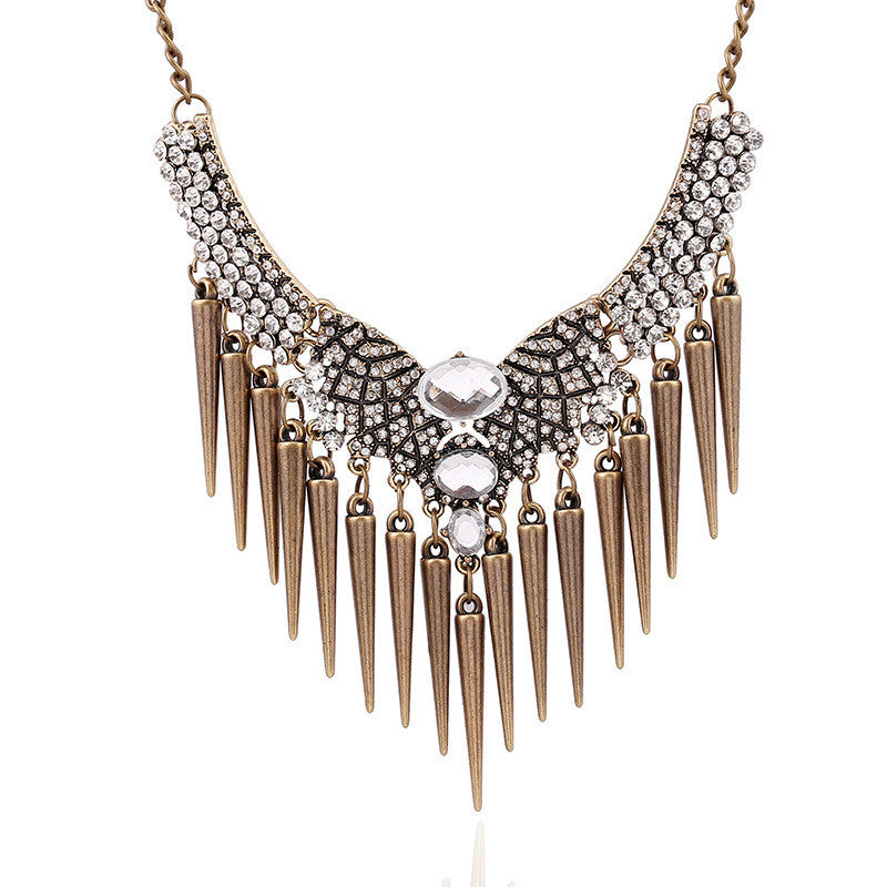 Spike Bronze Rhinestone Necklace