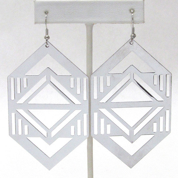 Large Abstract Design Dangle Earrings