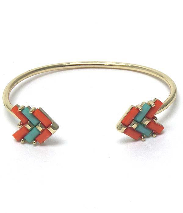 Chevron Stone Wire Bangle Bracelet