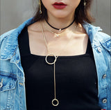 Double Ring Long Necklace