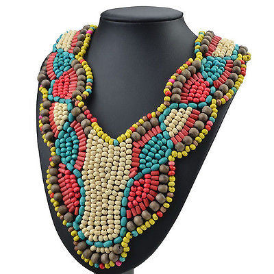 Long Beaded Tribal Statement Necklace