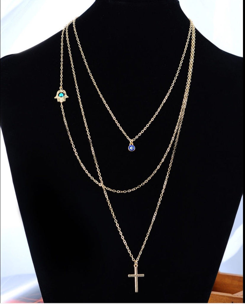 Multilayer Cross Hand Necklace