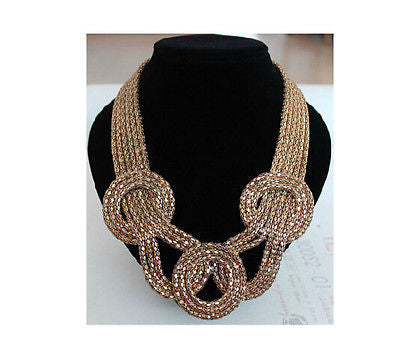 Round Braided Gold Necklace