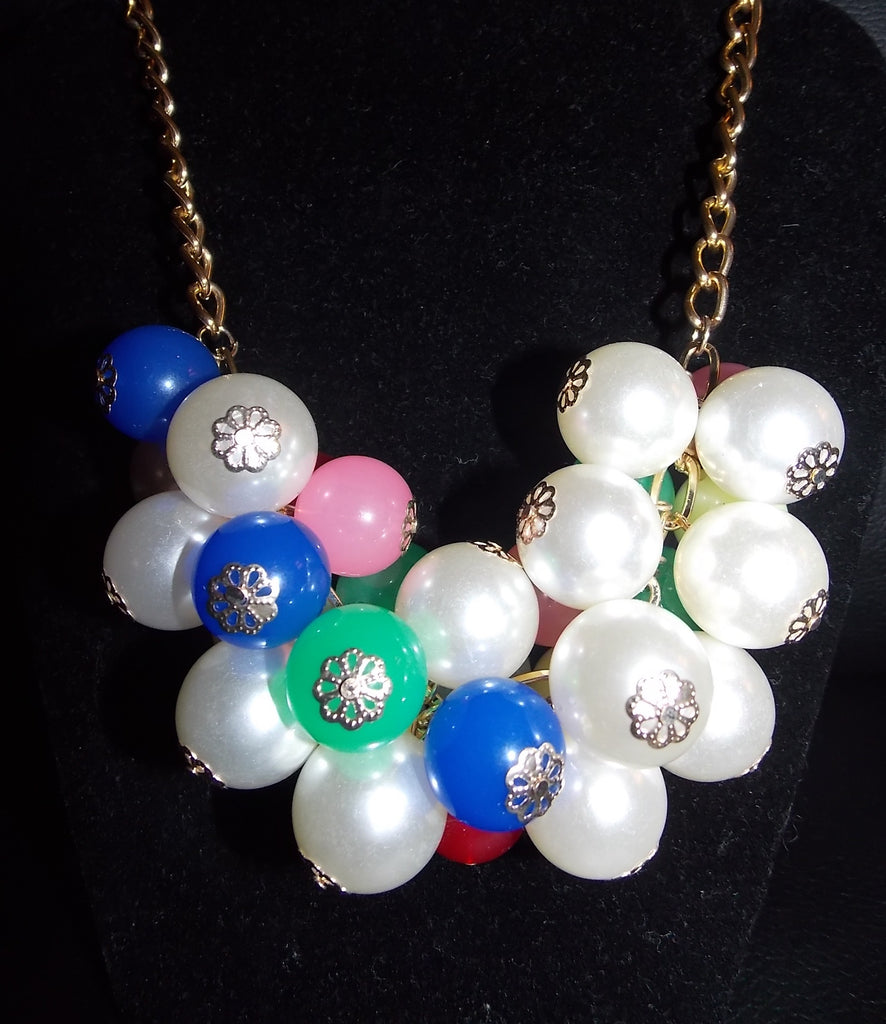 Multicolored Pearl Statement Necklace