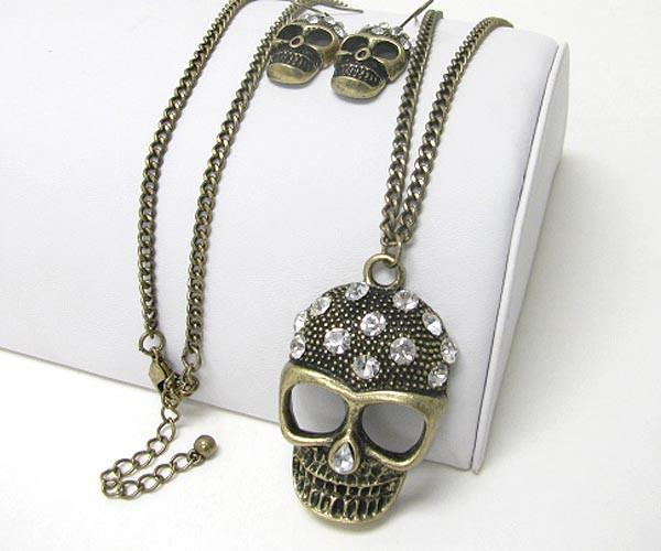 Bronze Colored Long Skull Necklace