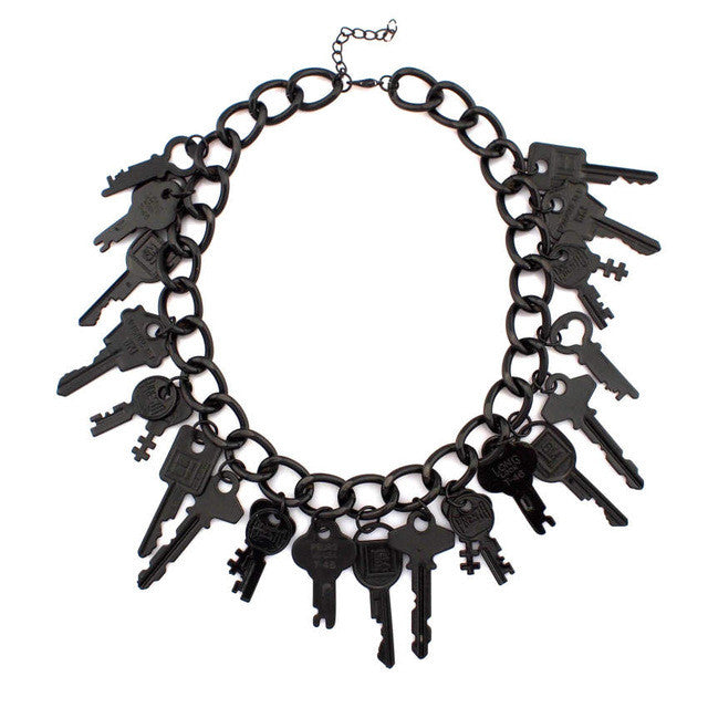 Unique Black Keys Statement Necklace
