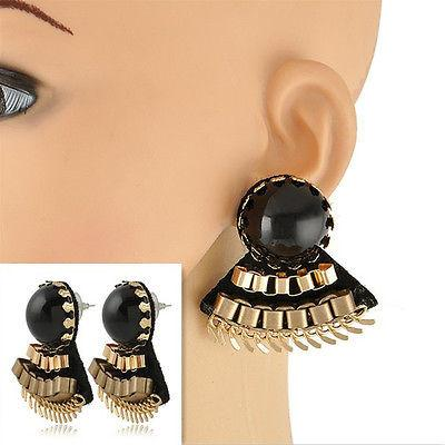 Chunky Vintage Style Fan Earrings