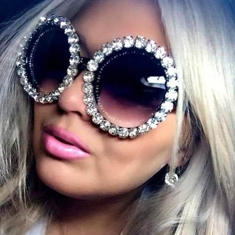 Blue Tint Retro Oversized Round Sunglasses