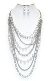 Long Pearl Chain Necklace Set