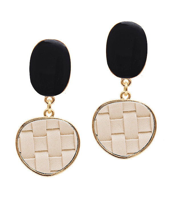 Black and White Leather Earrings