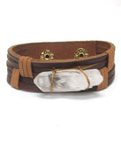 Brown Faux Leather Stone Band Bracelet