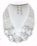 Chunky Clear Beaded Necklace set