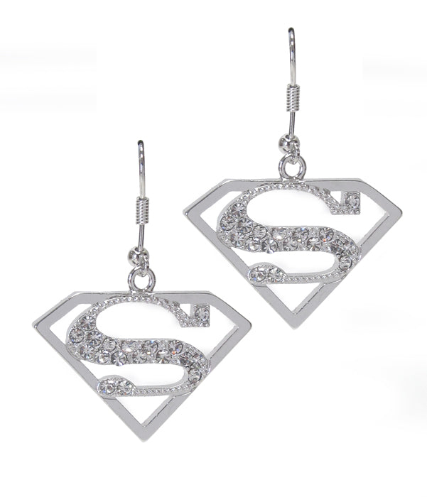 White Gold Plated Crystal Superman Earrings