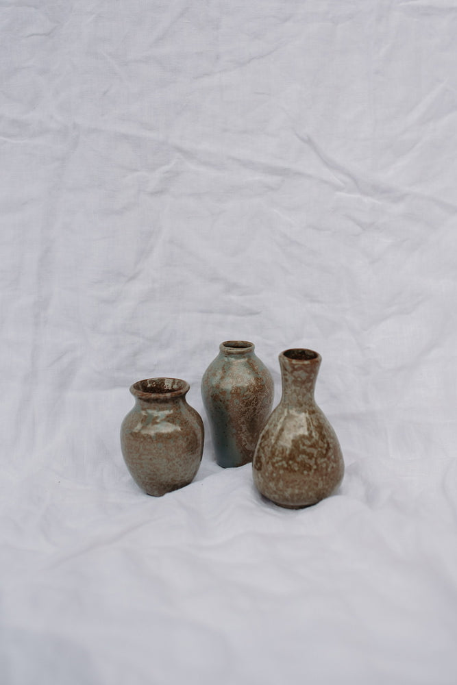 SET OF 3 BROWN VASES