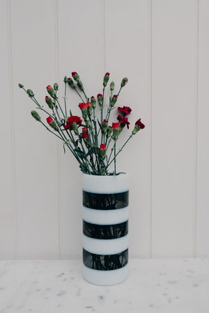 JEAN VASE STRIPED - WHITE & GREY