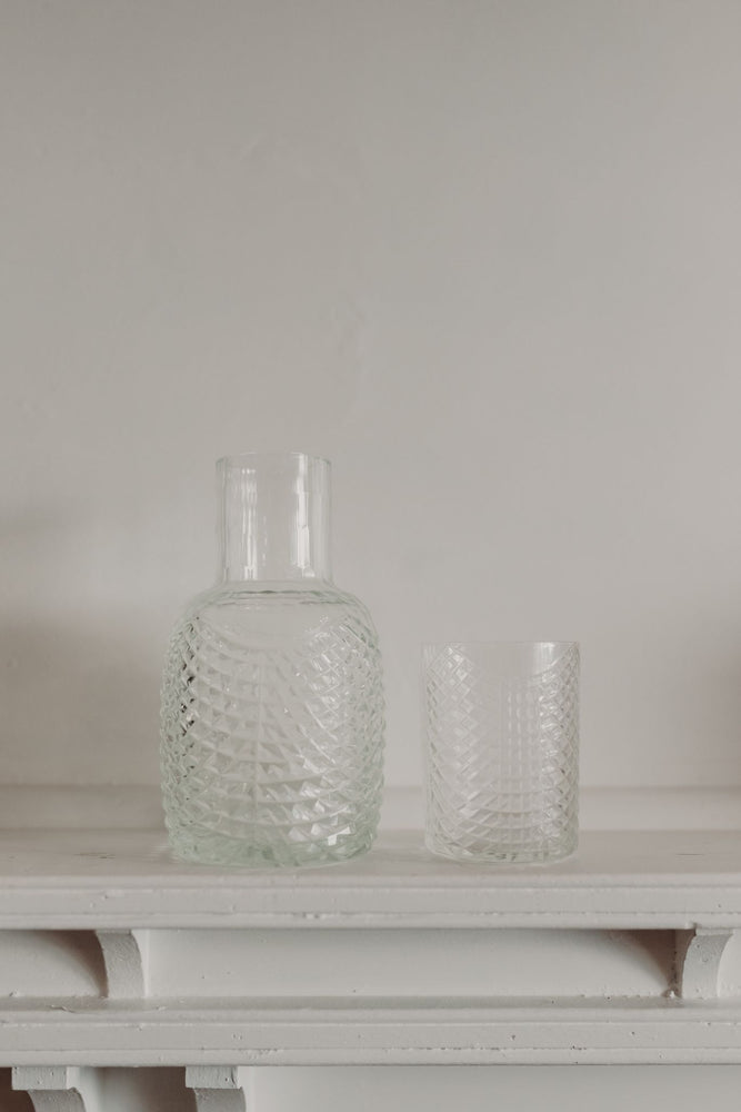 KAAWI MOUTH BLOWN & HANDCRAFTED CUT GLASS CARAFE & TUMBLER - SEA GLASS FRILL