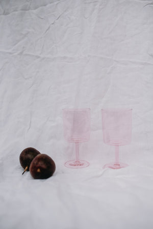 SET OF 2 WINE GLASSES - PINK