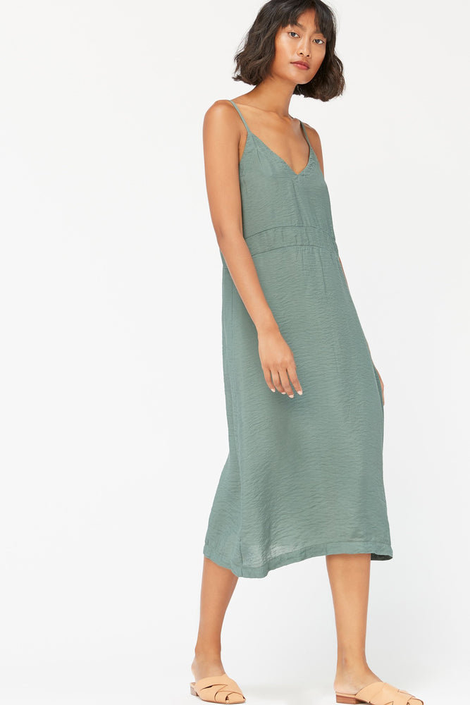 ALMA SLIP DRESS - SEAWEED