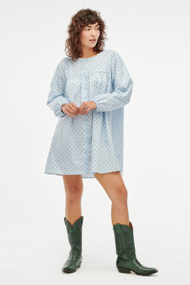 Load image into Gallery viewer, AVERY DRESS - BABY BLUE DOT