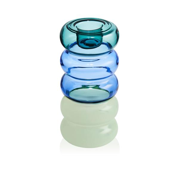 GRANDE PAULINE CANDLE HOLDER - TEAL/AZURE/MINT