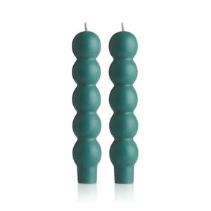 2 VOLUTE CANDLES - TEAL