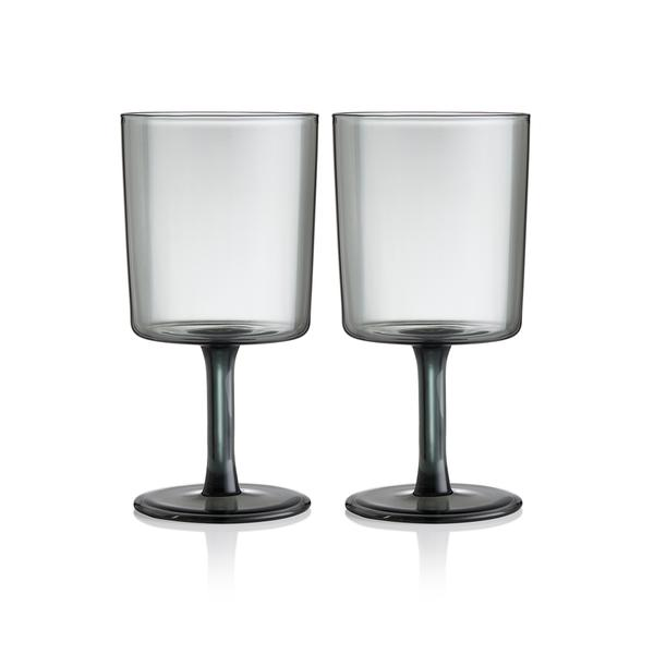 SET OF 2 WINE GLASSES - SMOKE