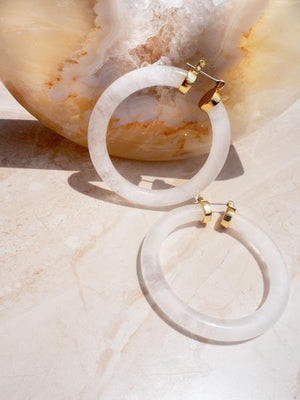 Load image into Gallery viewer, STONE AMALFI HOOPS - CLEAR QUARTZ