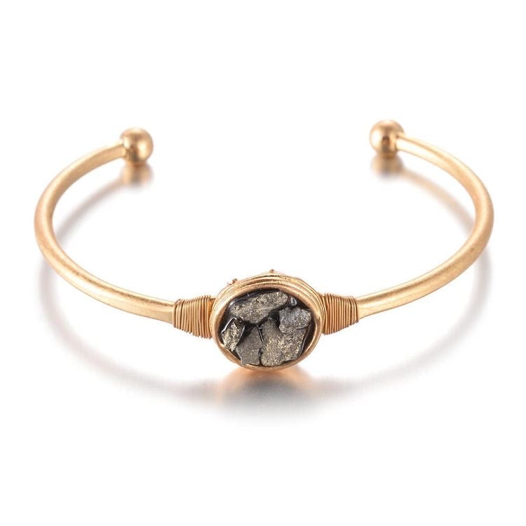 PATRICE BRASS NATURAL STONE BANGLE - 2 COLOURS