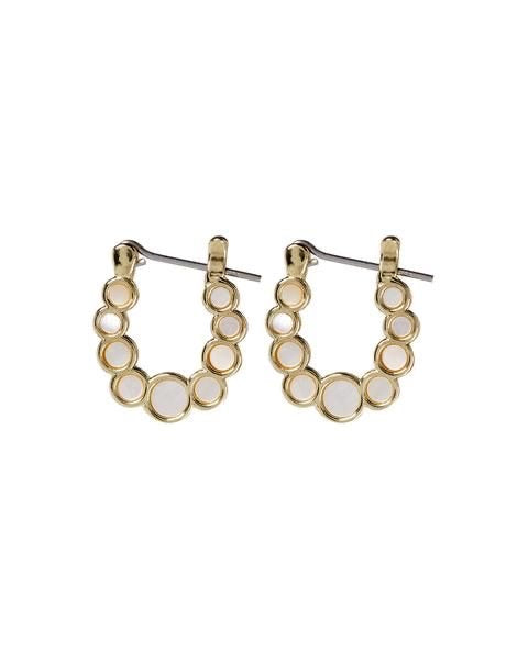 MINI MOTHER OF PEARL CIRCLE HOOPS - GOLD