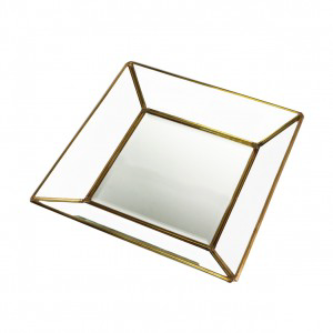 ANTIQUE BRASS GLASS SQUARE TRAY