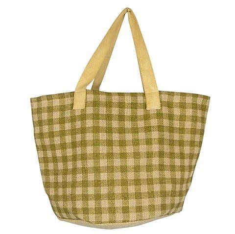 Load image into Gallery viewer, GINGHAM JUTE SHOPPER - 4 COLOURS