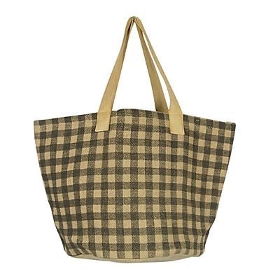 GINGHAM JUTE SHOPPER - ARMY