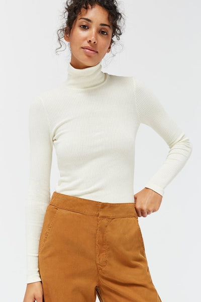 SWEATER RIB TURTLENECK - PANNA COTTA