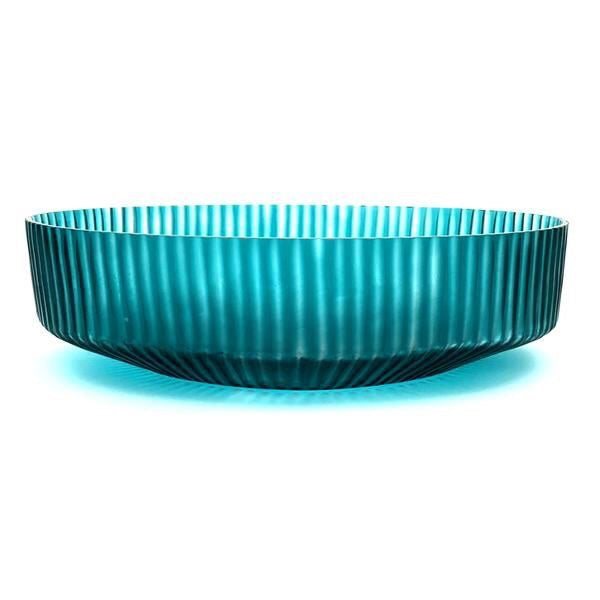 BRIAN TUNKS CUT GLASS BOWL - MEDIUM TURQUOISE
