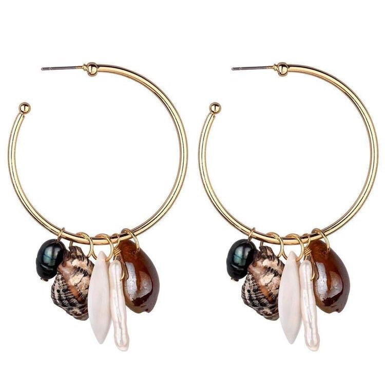 KARLIE SHELL HOOP EARRINGS