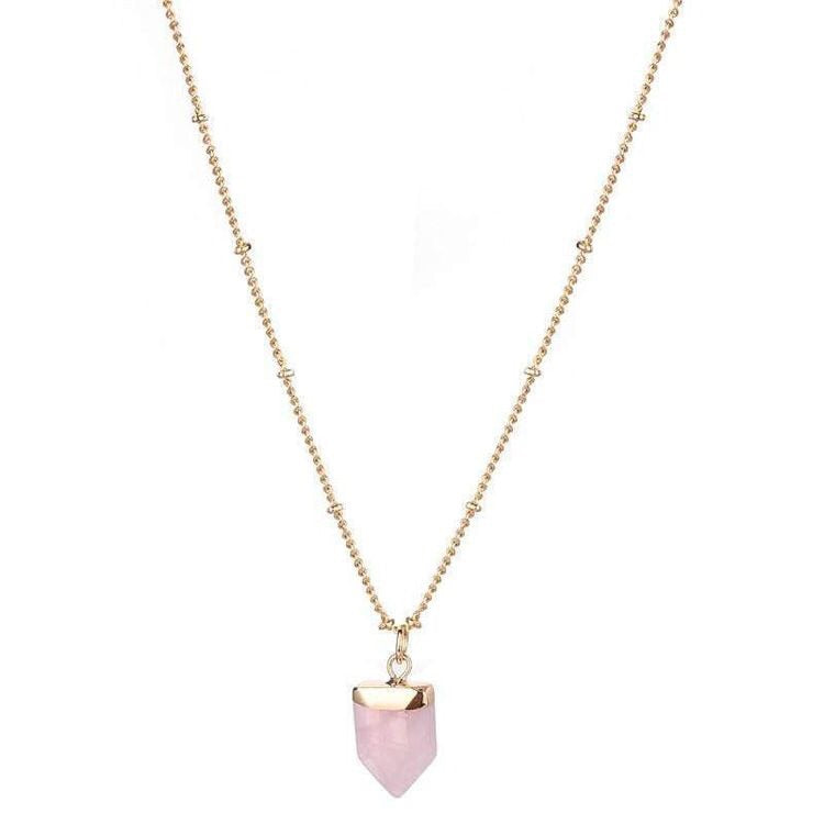 AMY NATURAL STONE NECKLACE - ROSE QUARTZ