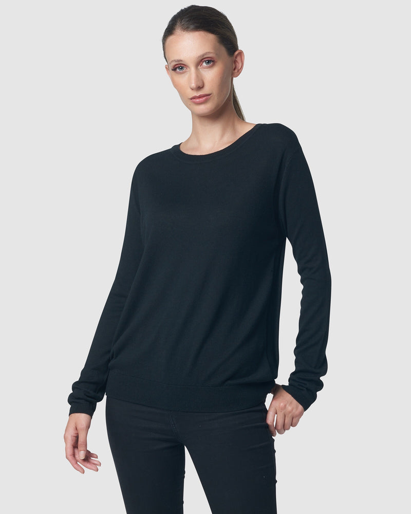FINE GAUGE CREW NECK - BLACK