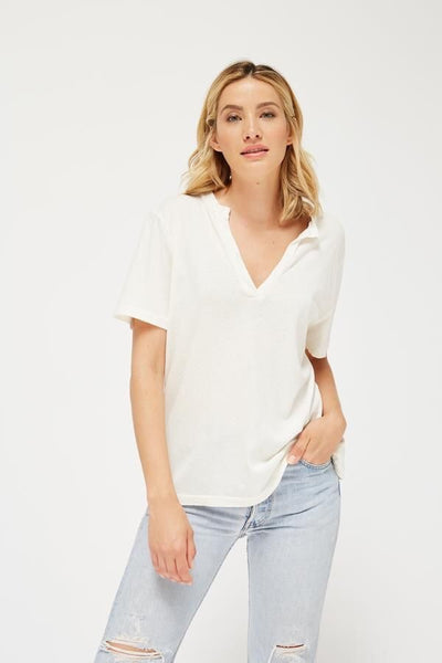 RELAXED V TEE - PARCHMENT