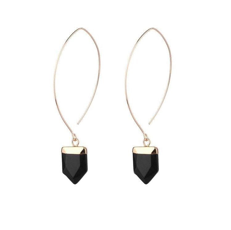 AMY NATURAL STONE EARRINGS - ONYX