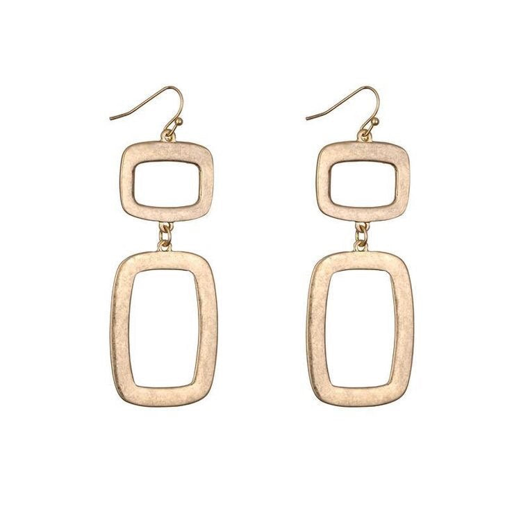 LEONA BRUSHED METAL EARRINGS - GOLD & SILVER